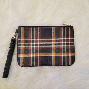Thirty one plaid zipper pouch wristlet with strap